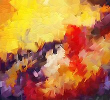 Abstract impressionist red yellow purple by druidwolfart