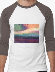 abstract expressionist landscape green Men's Baseball ¾ T-Shirt