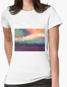 abstract expressionist landscape green Womens Fitted T-Shirt