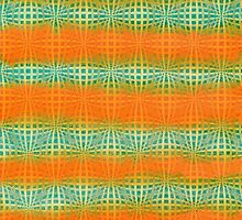 Hand-Painted Watercolor Abstract Melon Pattern Green Orange by Beverly Claire Kaiya