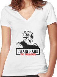 Train Hard No Excuse Women's Fitted V-Neck T-Shirt