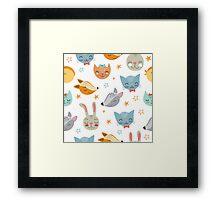 Super cute smiley animals pattern Framed Print