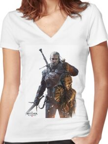 THE WITCHER WILD HUNT 3 RABU 8 Women's Fitted V-Neck T-Shirt