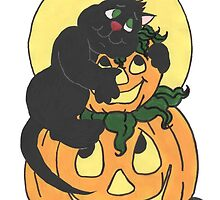Black Cat and Pumpkin by redqueenself
