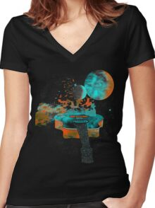 Music Is My Universe Women's Fitted V-Neck T-Shirt