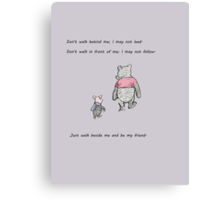 Pooh and Piglet Be My Friend Canvas Print