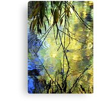 Blue Yellow Willow Water Canvas Print