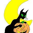 Black Cat Crescent Moon by redqueenself