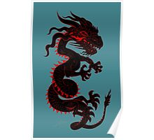 Black Dragon with Red Style Poster
