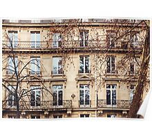 Traditional French Architecture with Typical Windows Poster
