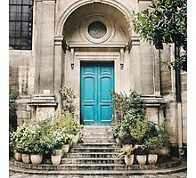 Old Blue Door Step with Stairs Photographic Print