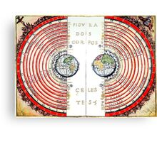 The Paradiso, Paradise, Heaven, Heavenly, medieval view of the Universe,  Earth surrounded by concentric spheres, planets and stars. Canvas Print