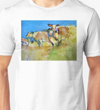 Impressionist herd of cows painting - Against the Blue Unisex T-Shirt