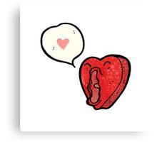 funny cartoon love heart Canvas Print