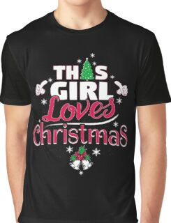 This Girl Loves Christmas Cool Snowflakes Tree Novelty Graphic T-Shirt
