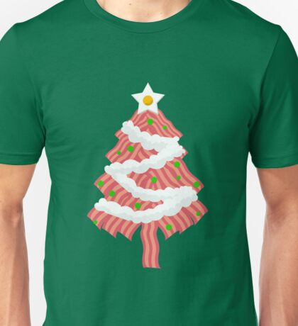 Funny Bacon Christmas Tree Eggs Food Gag Gift Tasty Unisex T-Shirt