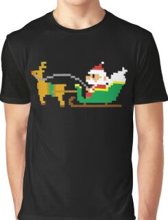 Funny Pixel Santa Claus Reindeer Sleigh Christmas Graphic T-Shirt