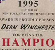 Dean Winchester + Wrestling Certificate. Sticker