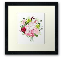 Beautiful vector bouquet with peony, rose, carnation, hydrangea, orchid, green plants on white vector design set. Bunch of flowers in modern mixed style. All elements are isolated and editable. Framed Print