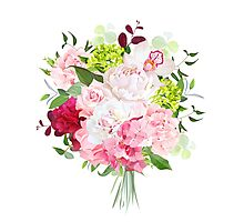 Beautiful vector bouquet with peony, rose, carnation, hydrangea, orchid, green plants on white vector design set. Bunch of flowers in modern mixed style. All elements are isolated and editable. Photographic Print