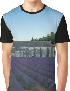 Lavender field near the monastery just before sunrise Graphic T-Shirt