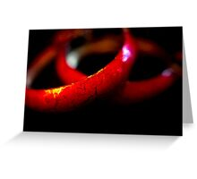 Red Metal Hoops Greeting Card
