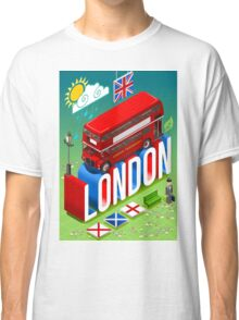 London-Bus-Postcard-Isometric Classic T-Shirt