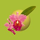 Pink Orchid on Green Tee, Pillows & Totes, Tablet Case by Leonie Mac Lean