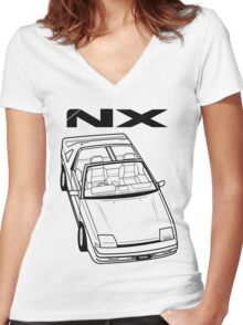 Nissan Pulsar NX Action Shot Women's Fitted V-Neck T-Shirt