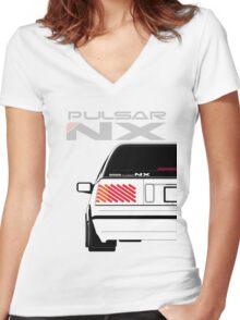 Nissan NX Pulsar Sportback - White Women's Fitted V-Neck T-Shirt