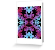Mirrored leaves (Purple and cyan) Greeting Card