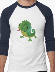 Funny cartoon chameleon Men's Baseball ¾ T-Shirt
