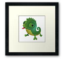 Funny cartoon chameleon Framed Print