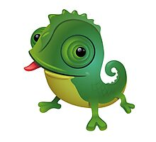 Funny cartoon chameleon Photographic Print