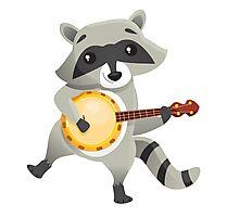 Funny raccoon playing the banjo Photographic Print