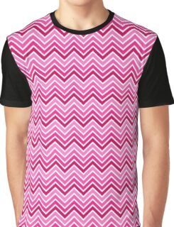Bright Pink Ombre Chevron Pattern Graphic T-Shirt