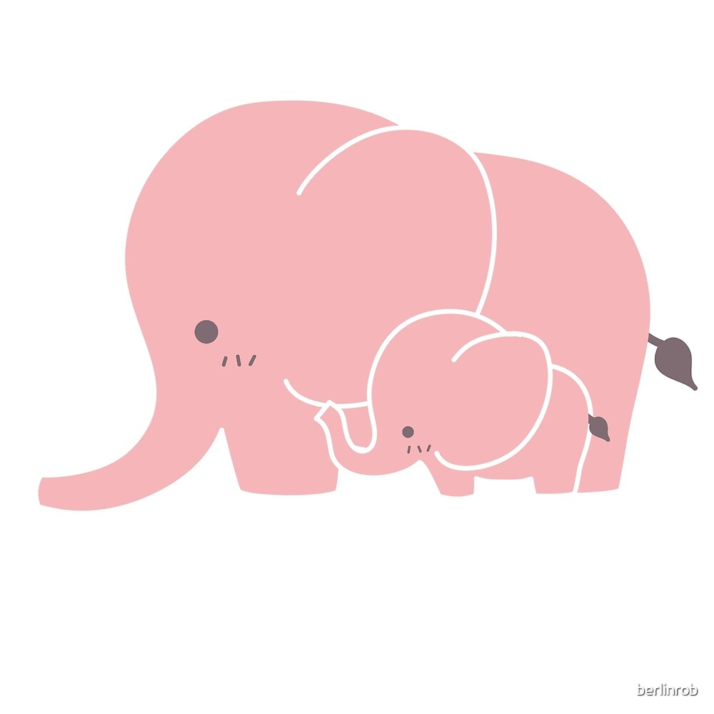 Pink elephant mother and baby by berlinrob