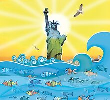 Cool Colorful New York Statue of Liberty and Fish by Silvia Neto