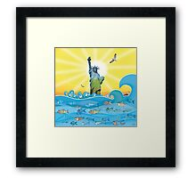 Cool Colorful New York Statue of Liberty and Fish Framed Print