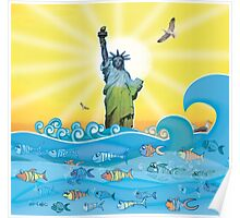 Cool Colorful New York Statue of Liberty and Fish Poster
