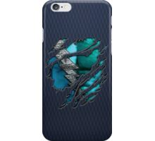 Quick man Silver lightning chest in blue ripped torn tee iPhone Case/Skin