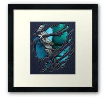 Quick man Silver lightning chest in blue ripped torn tee Framed Print