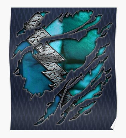 Quick man Silver lightning chest in blue ripped torn tee Poster