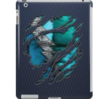 Quick man Silver lightning chest in blue ripped torn tee iPad Case/Skin