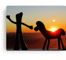 Sunset with Gumby and Pokey Canvas Print