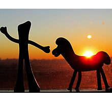 Sunset with Gumby and Pokey Photographic Print