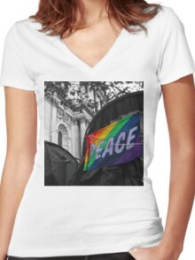 Rainbow Peace Flag Women's Fitted V-Neck T-Shirt