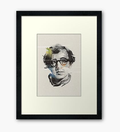 Woody Allen Black Portrait Design Framed Print