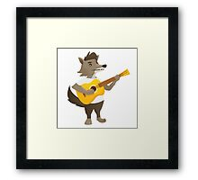 Cute wolf playing music with guitar Framed Print