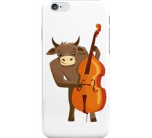 Funny ox playing music with cello iPhone Case/Skin